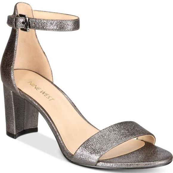 ba014471b6b Nine West Pruce Block-Heel Sandals SIZE 10M PEWTER